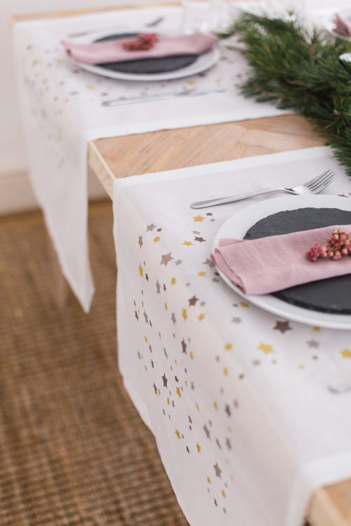 DIY Printed Table Runner with Vintage Paints