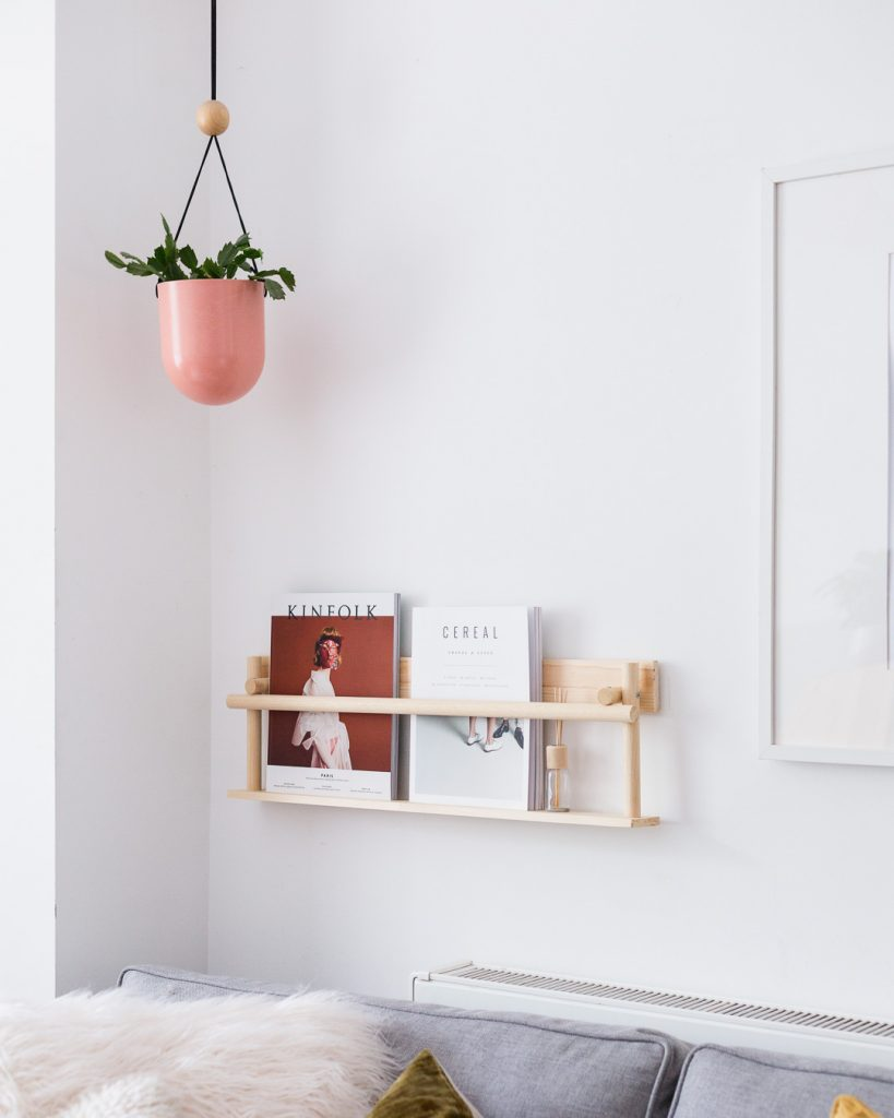 DIY Dowel Magazine Shelf