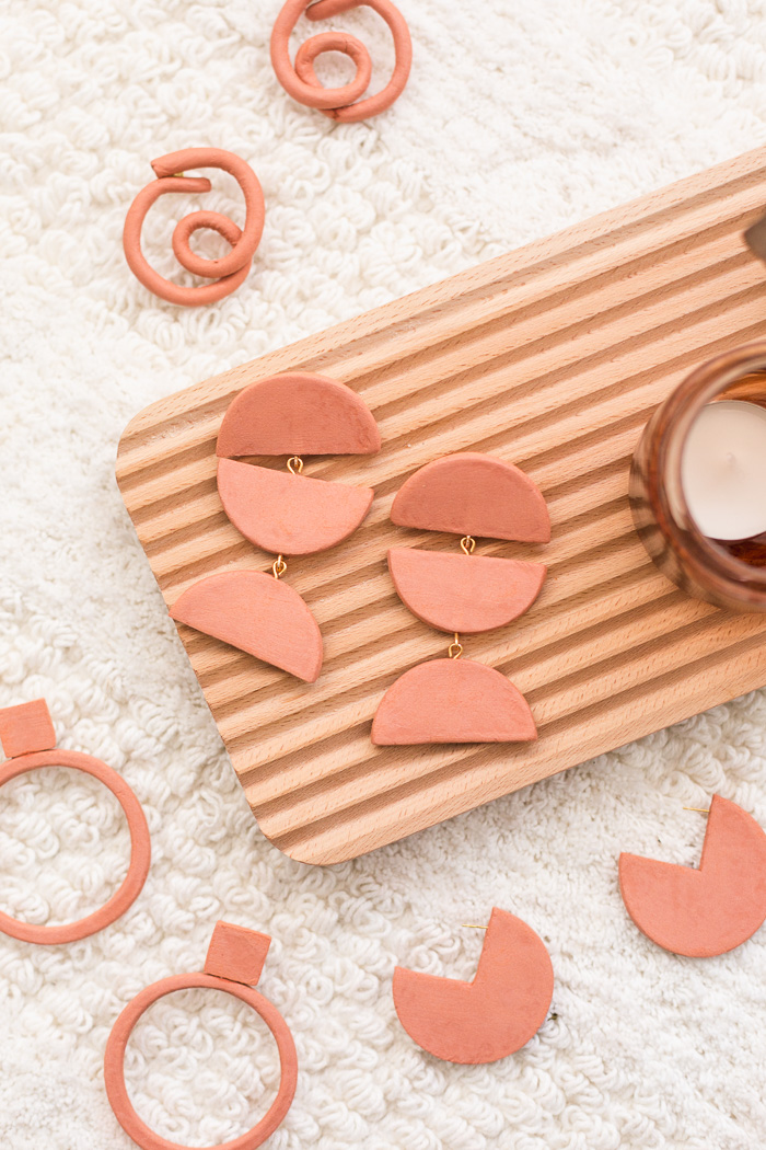 DIY Terracotta Air Dry Clay Earrings
