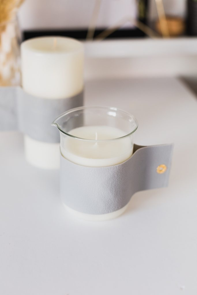 DIY Minimal Faux Leather Candle Wrap