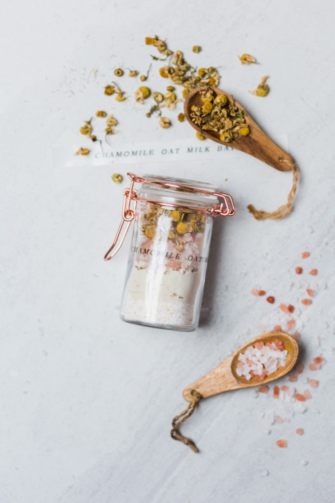 DIY Chamomile Oat Milk Bath